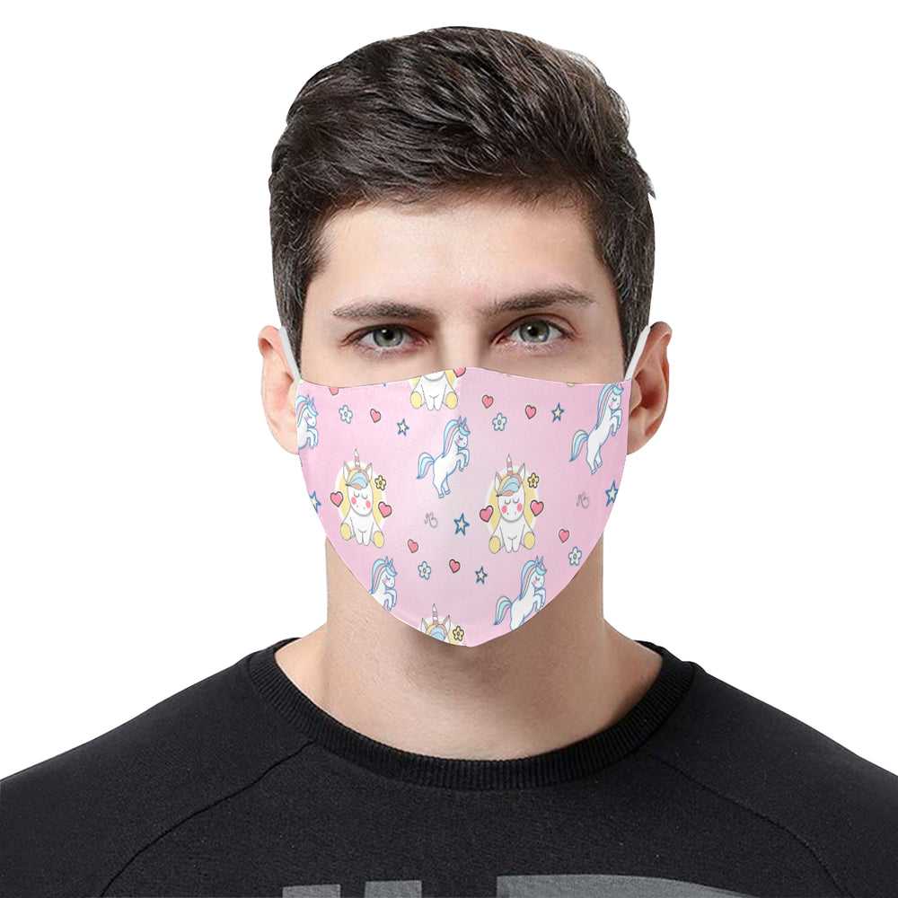 Unicorn print Cotton Fabric Face Mask with Filter Slot & Adjustable Strap (Pack of 5) - Non-medical use
