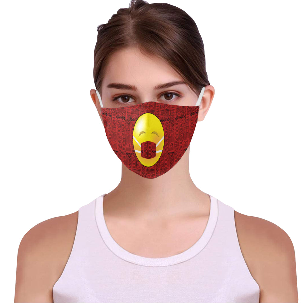 Mask on Tribal Print Emoji Cotton Fabric Face Mask with Filter Slot & Adjustable Strap - Non-medical use (2 Filters Included)