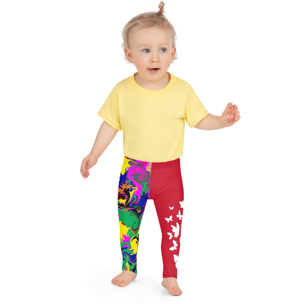 AfriBix Marble Camo Print Kid's Leggings - Red