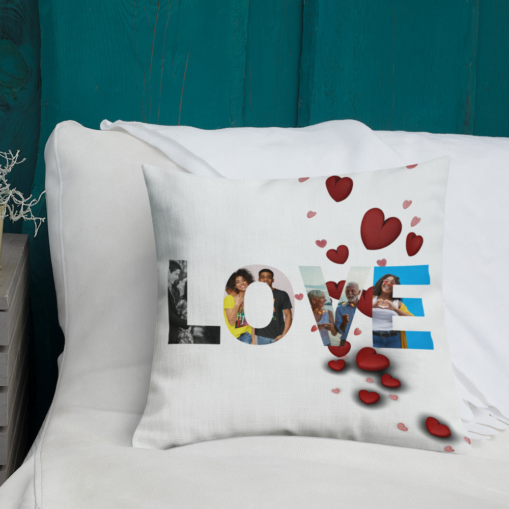 Love Personalised Premium Throw Pillow - hearts
