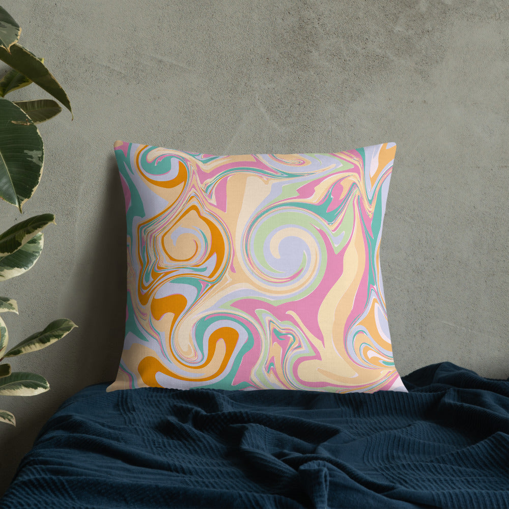 Candy Marble Print Premium Throw Pillow