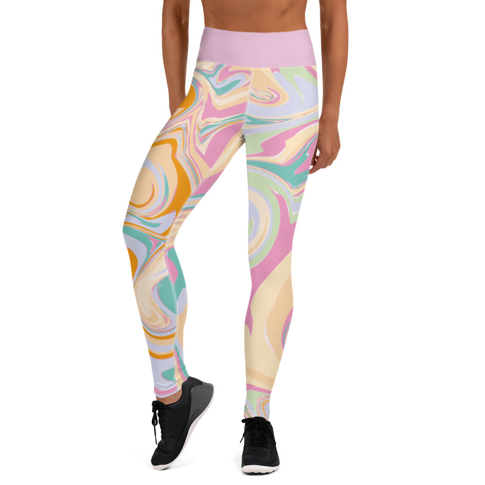 Candy Marble Print High Waist Leggings