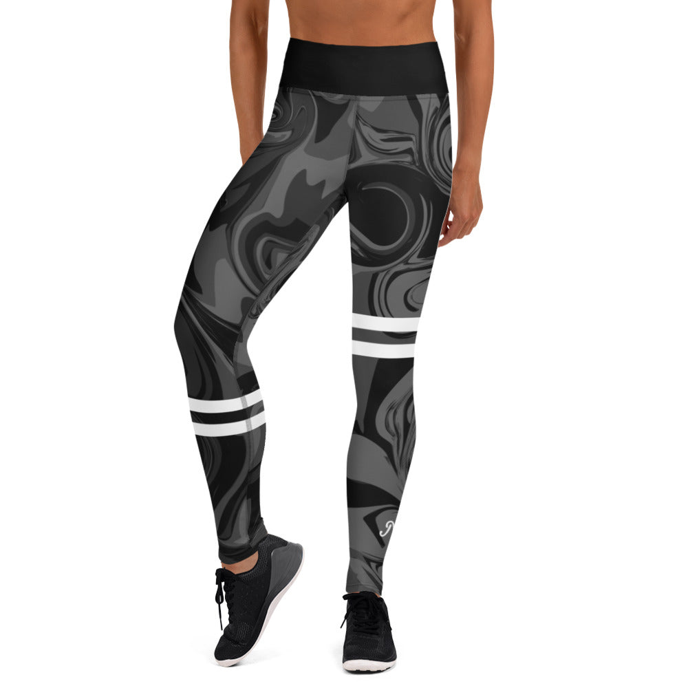 AfriBix Marble High Waist Leggings - Black