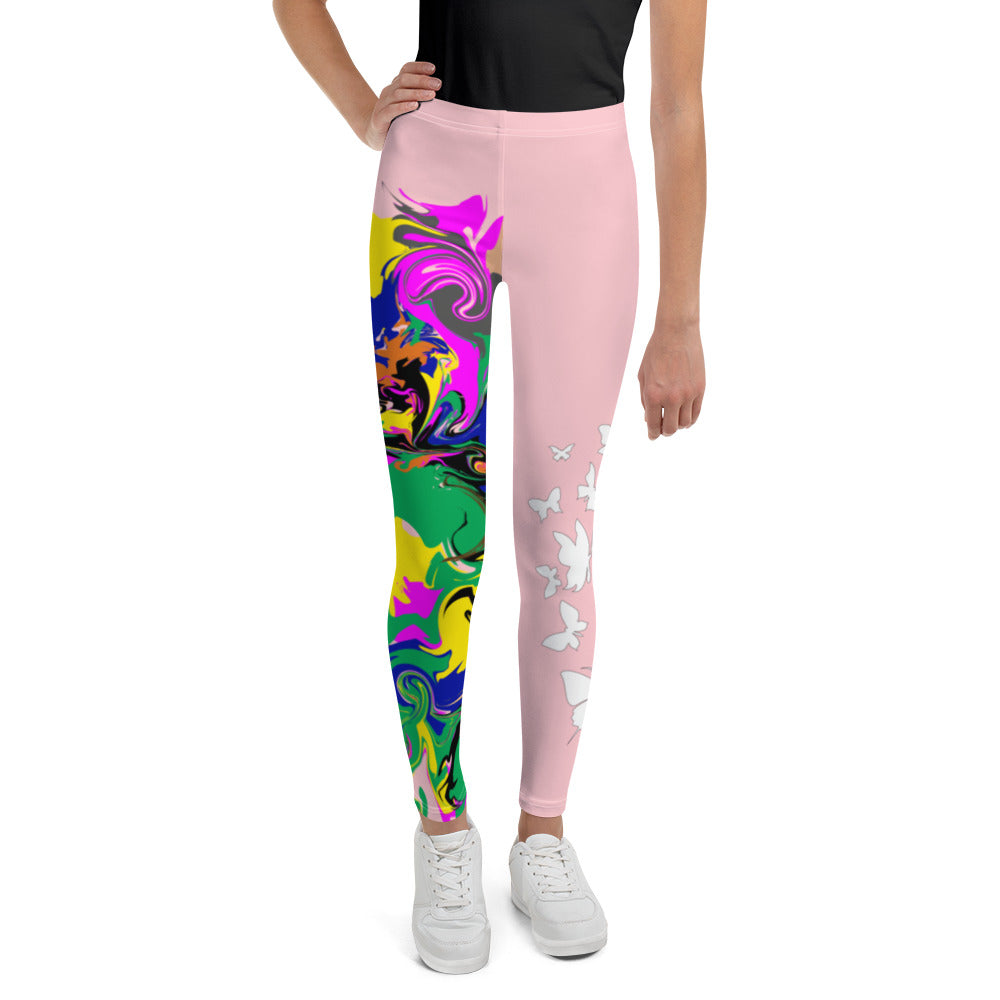 AfriBix Marble Camo Print Youth Leggings - Pink
