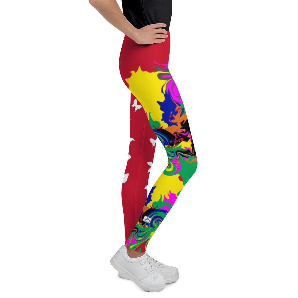 AfriBix Marble Camo Print Youth Leggings - Red
