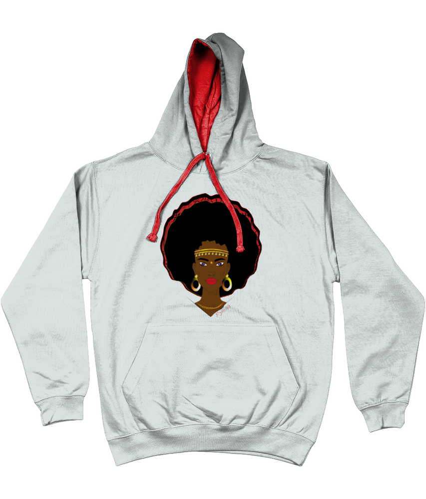 AfriBix Warrior Unisex Hoodie with a contrast hood and string