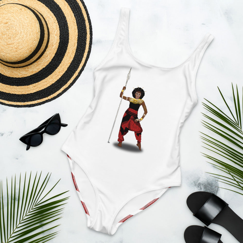 AfriBix Warrior Queen One-Piece Swimsuit - White