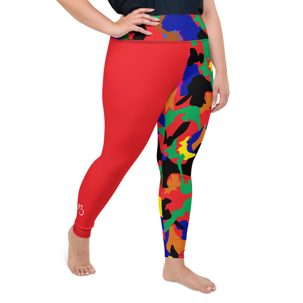 AfriBix Camo Print Patch Plus Size High Waist Leggings - Red