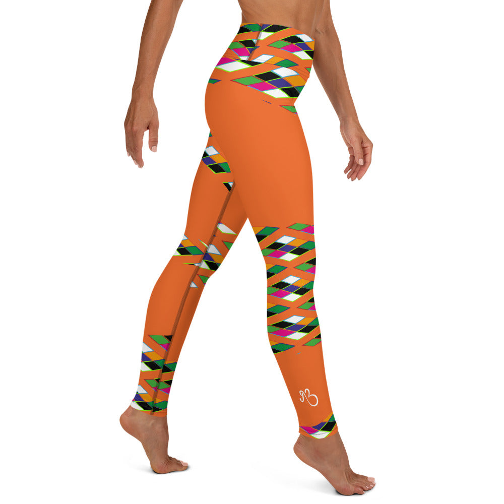 Pyramid Print Fringe Leggings - Orange