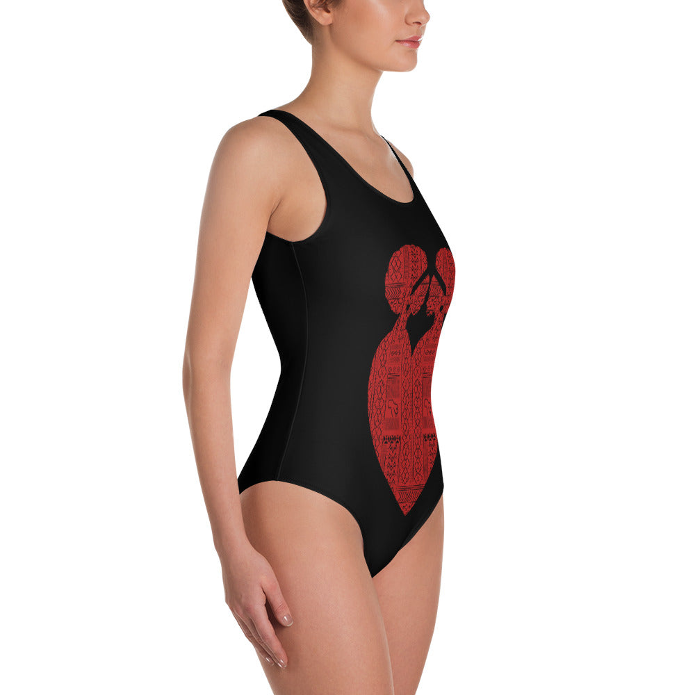Ubuntu Tribal One-Piece Swimsuit - Black
