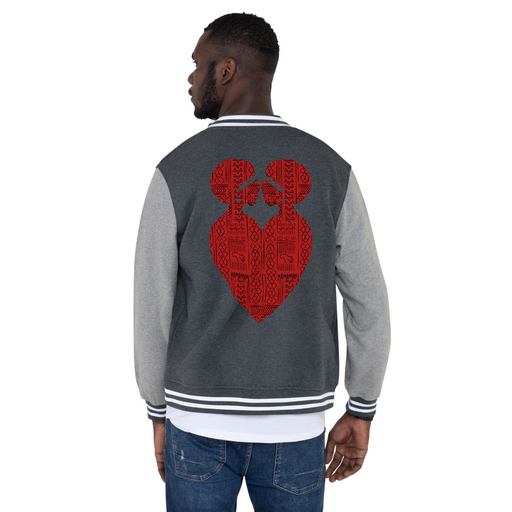 Ubuntu Tribal Print Men's Fleece Lined Letterman Jacket