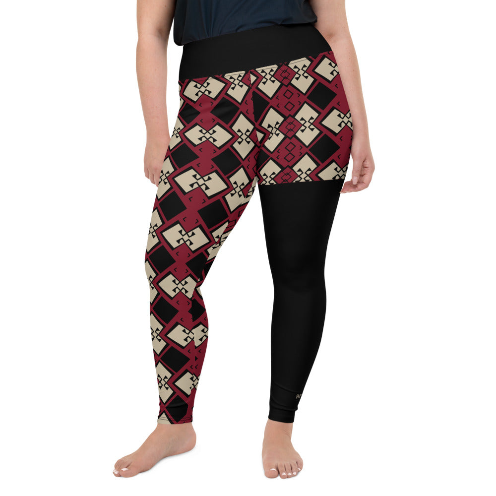AfriBix Aztek Print Plus Size High Waist Leggings - Ruby