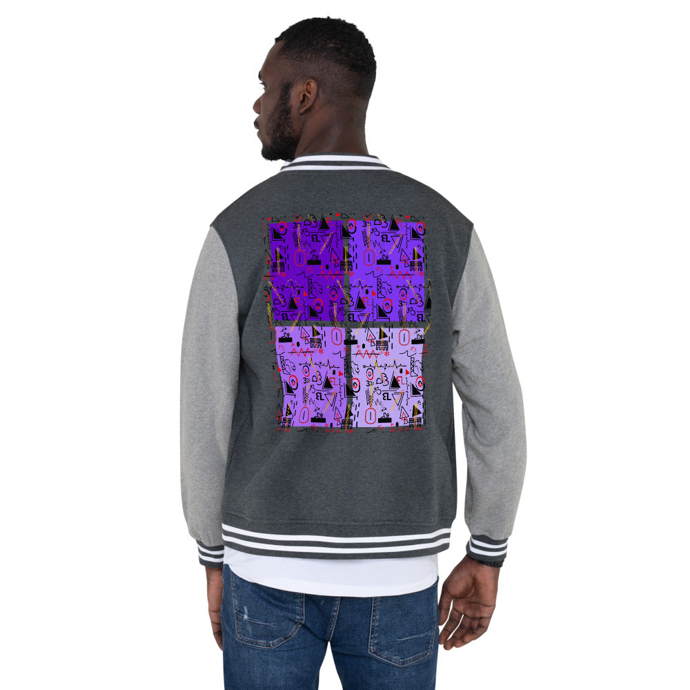 AfriBix Linear Print Graphic Men's Fleece Lined Letterman Jacket