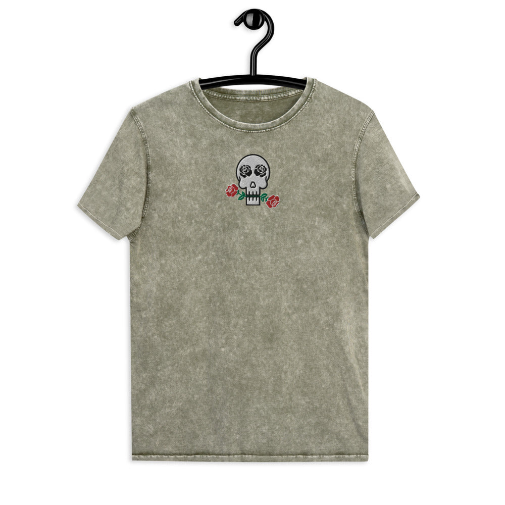 Skulls and Roses Embroidered Denim T-Shirt