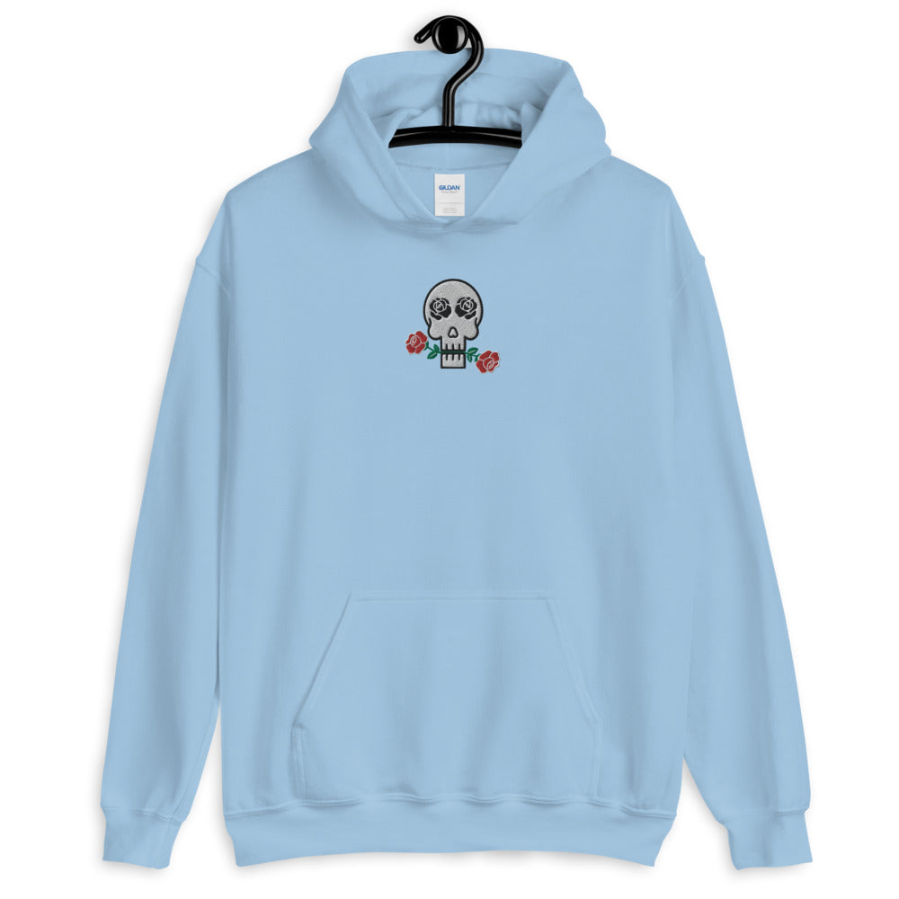 Skulls and Roses Embroidered Unisex Hoodie