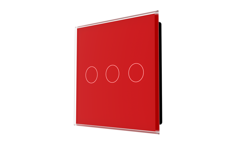 iGlass Switch 3-gang RED LUMINOUS