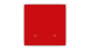 Glass Switch 2-gang RED LUMINOUS