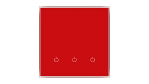 Glass Switch 3-gang RED LUMINOUS