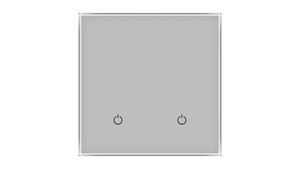 Glass Switch 2-gang GREY METAL
