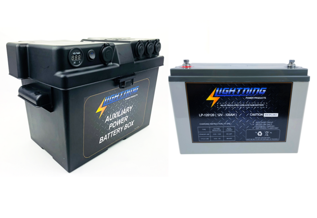 LIGHTNING Battery & Power Box Pack - 12V 120AH Deep Cycle AGM Battery & Auxiliary Power Box (LP-12120PBOX)