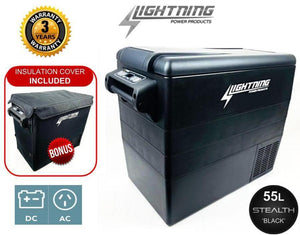 LIGHTNING Premium Fridge & Battery Package - 55L Fridge/Freezer + 120AH AGM Battery & Power Box Package (LP-PFB-P)