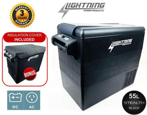 LIGHTNING 55L PORTABLE FRIDGE FREEZER 'Stealth Black' 12V/24V/240V (LP-CF55)