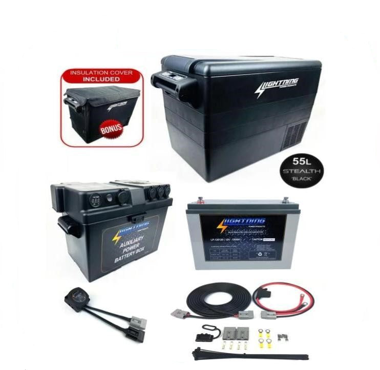 LIGHTNING Essential Fridge & Power Package - 55L Fridge/Freezer + 120AH Power Package (LP-EFP-P)
