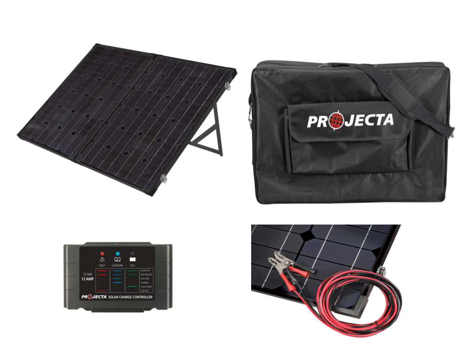 PROJECTA MONOCRYSTALLINE 12V 120W PORTABLE FOLDING SOLAR PANEL KIT (LP-SPP120K)