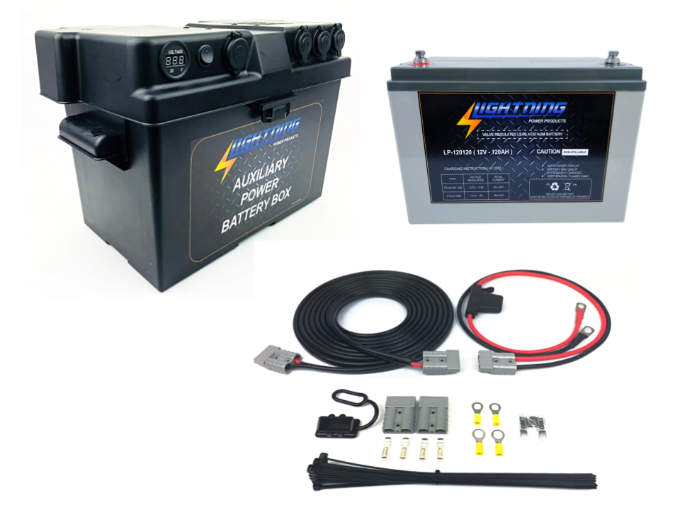 LIGHTNING Universal Dual Battery System - Auxiliary Power Battery Box + 120AH AGM Battery + Quick Connect Wiring Kit (LP-DBSUK120-QC)