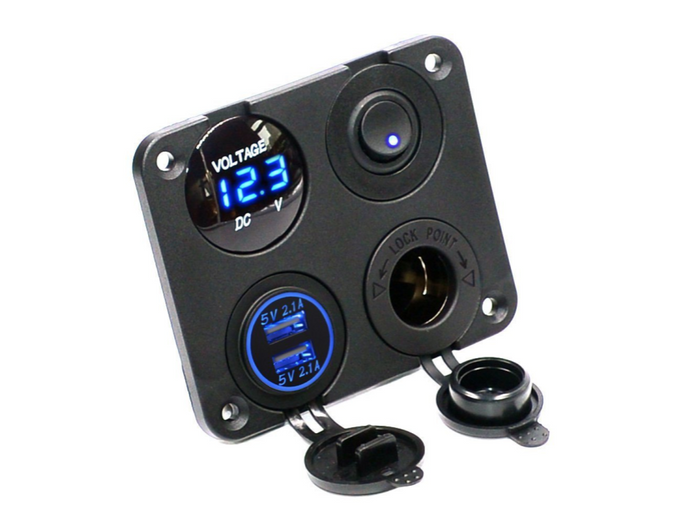 LIGHTNING 4 Way Switch Panel With Voltmeter + Dual USB + Power Socket and Switch - Blue (LP-4WSPV)