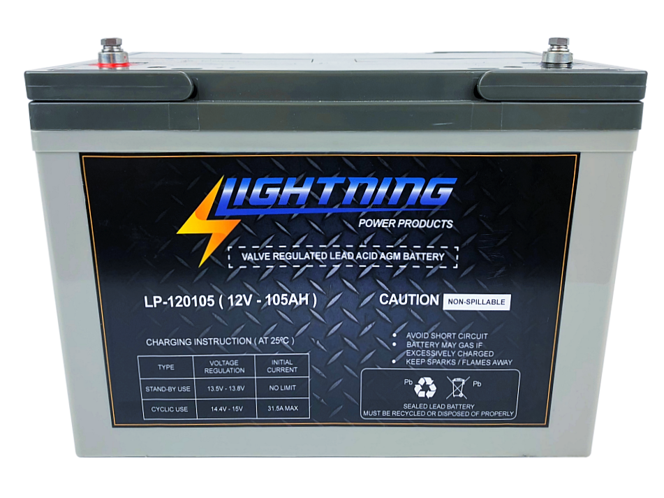 LIGHTNING 12 Volt 105Ah Deep Cycle AGM Auxiliary Battery (LP-12105)