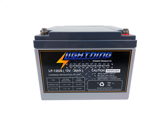 LIGHTNING 12 Volt 26Ah Deep Cycle AGM Auxiliary Battery (LP-12026)