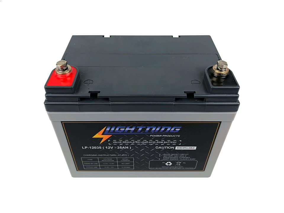 Lightning 12 Volt 35ah Deep Cycle Agm Auxiliary Battery Lp 12035 Battery Wise
