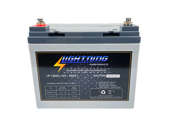 LIGHTNING 12 Volt 35Ah Deep Cycle AGM Auxiliary Battery (LP-12035)