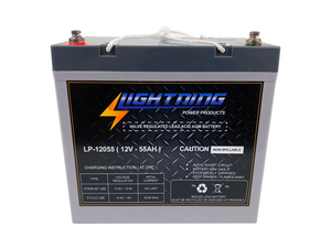 LIGHTNING 12 Volt 55Ah Deep Cycle AGM Auxiliary Battery (LP-12055)