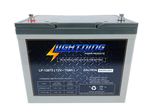 LIGHTNING 12 Volt 75Ah Deep Cycle AGM Auxiliary Battery (LP-12075)