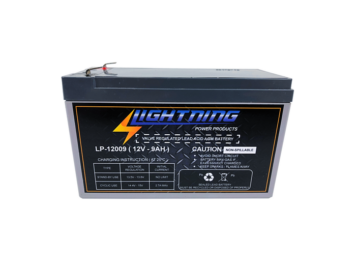 LIGHTNING 12 Volt 9Ah Deep Cycle AGM Auxiliary Battery (LP-12009)