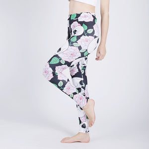 Flowers Sexy Athleisure Leggings / Yoga pants: Push Up