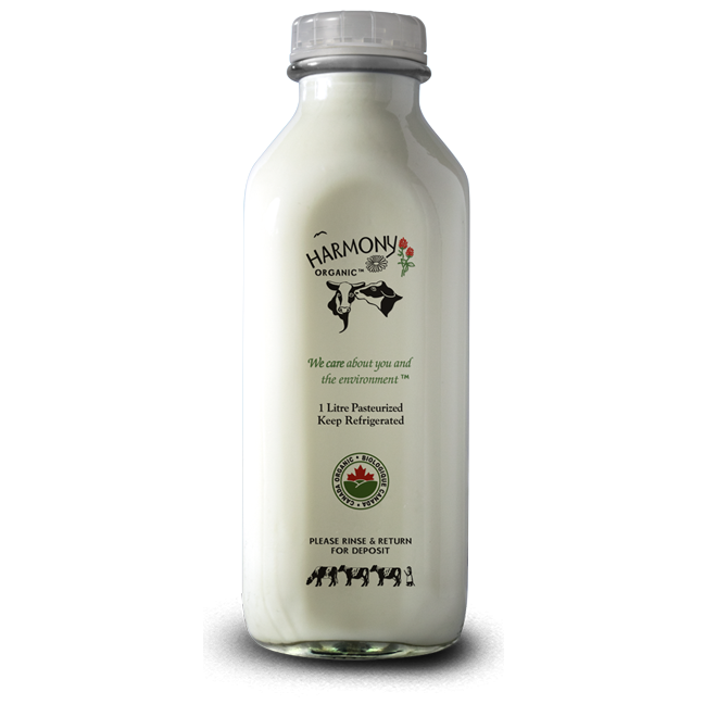 1% Milk - Harmony Organic <BR> (Includes $2 Bottle Deposit)