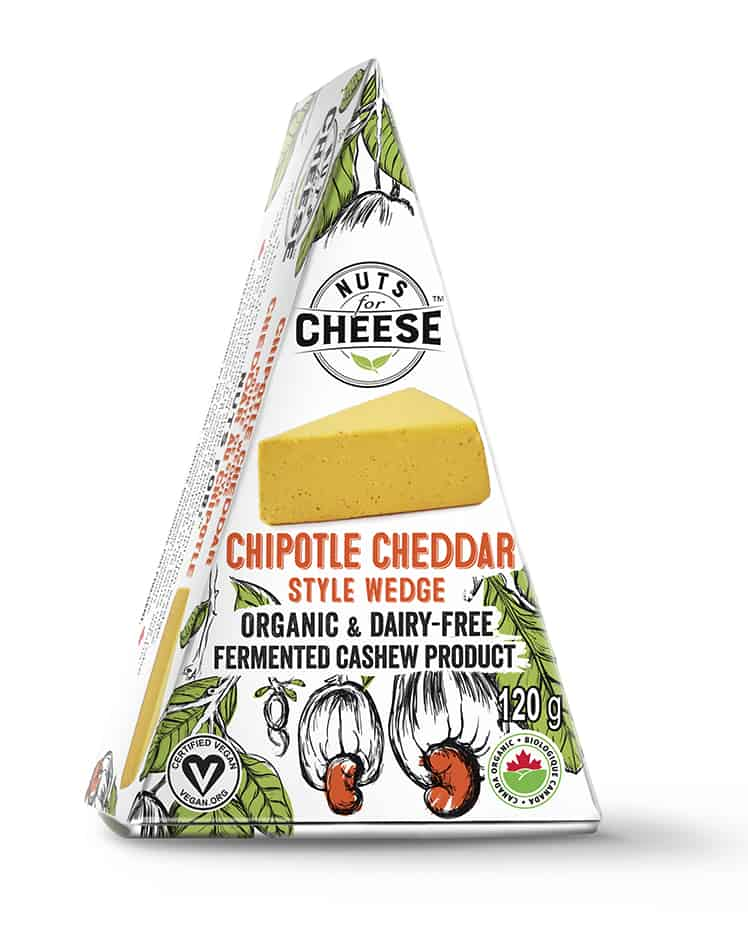 Cashew Cheese - Chipotle ``Cheddar`` Flavoured Wedge - Nuts For Cheese