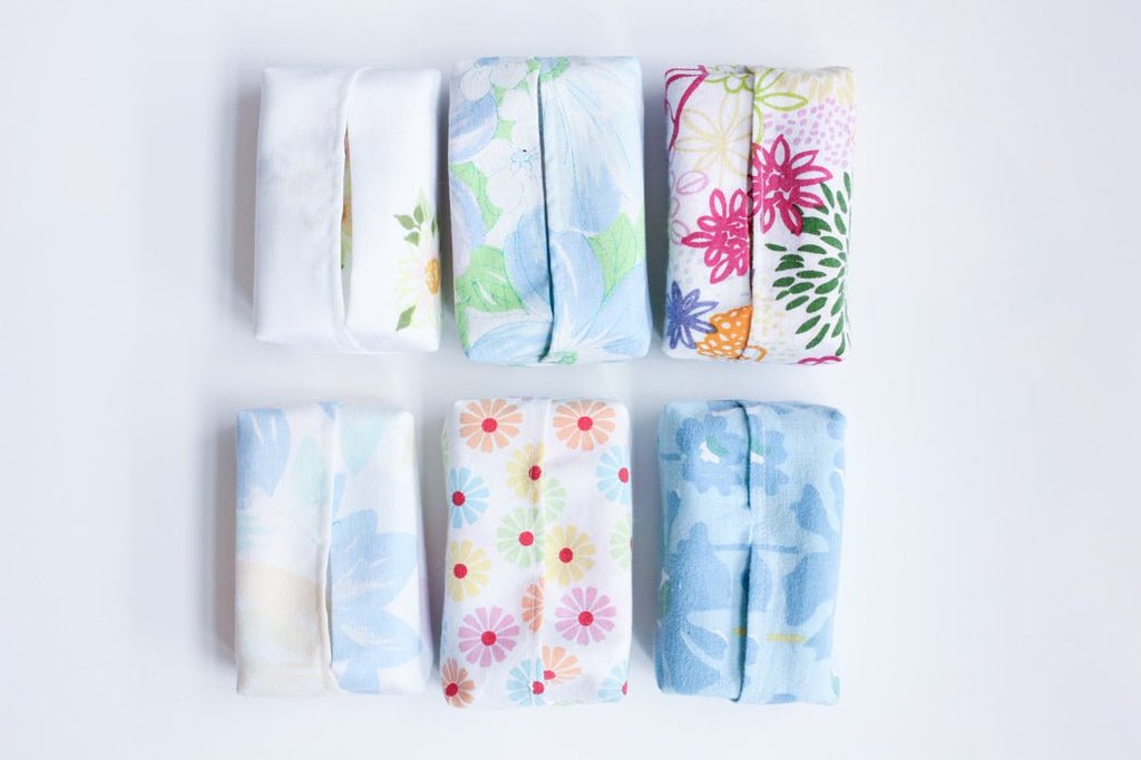 Upcycled Reusable Travel Tissues/Napkins with Pouch (4 Pack)