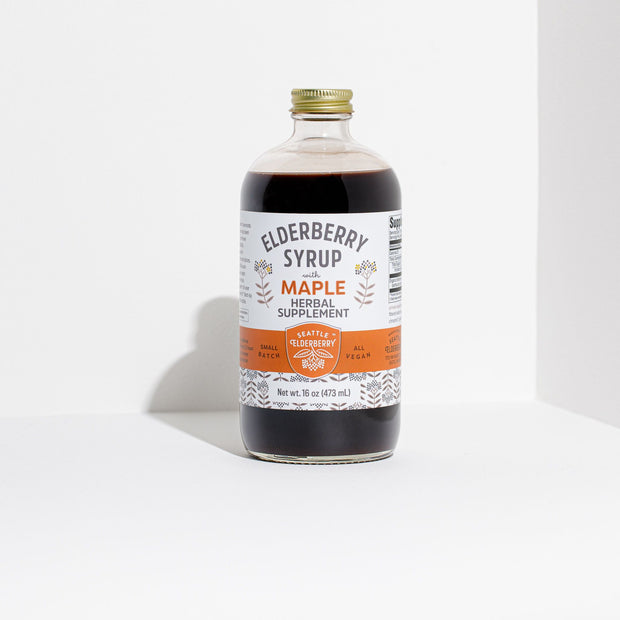 Organic Elderberry Syrup with Maple Front