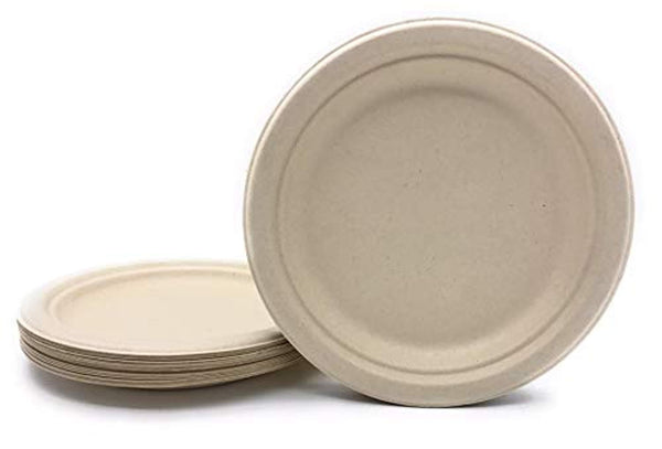 50 COUNT 9 in Round Disposable Plates Natural Sugarcane Bagasse Bamboo Fibers Sturdy Nine Inch Compostable Eco Friendly Environmental Paper Plate Alternative 100/% by-product Tree Plastic Wax Free