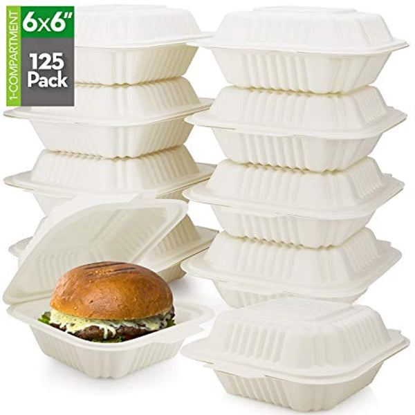 "125 Count Eco Friendly Take Out Food Containers, (6"" x 6"", 1-Comp.) - Non-Soggy, Leak Proof, Disposable To Go Containers Made From Cornstarch"