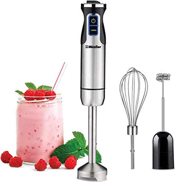 Ultra-Stick 500 Watt 9-Speed Immersion Multi-Purpose Hand Blender Heavy Duty Copper Motor Brushed 304 Stainless Steel With Whisk, Milk Frother - Eco Trade Company