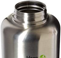 Wide Mouth Single Wall Stainless Steel Water Bottle with Leak Proof Stainless Steel Interior Cap - 64oz - Brushed Stainless - Eco Trade Company