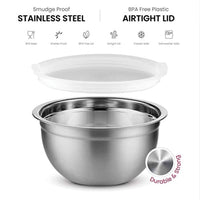 Premium Stainless Steel Mixing Bowls with Airtight Lids Set of 5 - Eco Trade Company