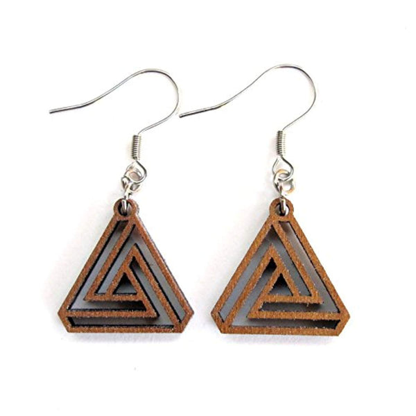Valknut Small Triangle Earrings, Sacred Geometry Laser Cut Wood Eco-friendly Jewelry - Eco Trade Company
