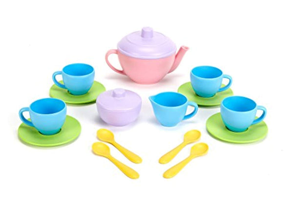 Green Toys Tea Set - BPA Free, Phthalates Free Play Toys for Gross Motor, Fine Skills Development - Eco Trade Company