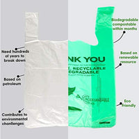 100 Pack, 1/6 Size Biodegradable Reusable Plastic T-Shirt Bag Eco Friendly - Eco Trade Company